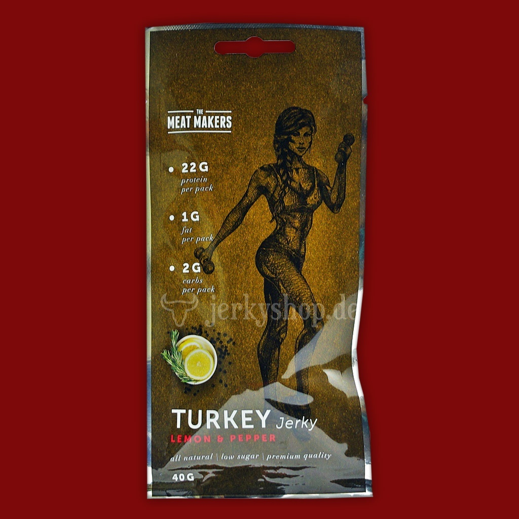 "Meat Makers ""Active Line"" Turkey Jerky - Lemon & Pepper, 40g"