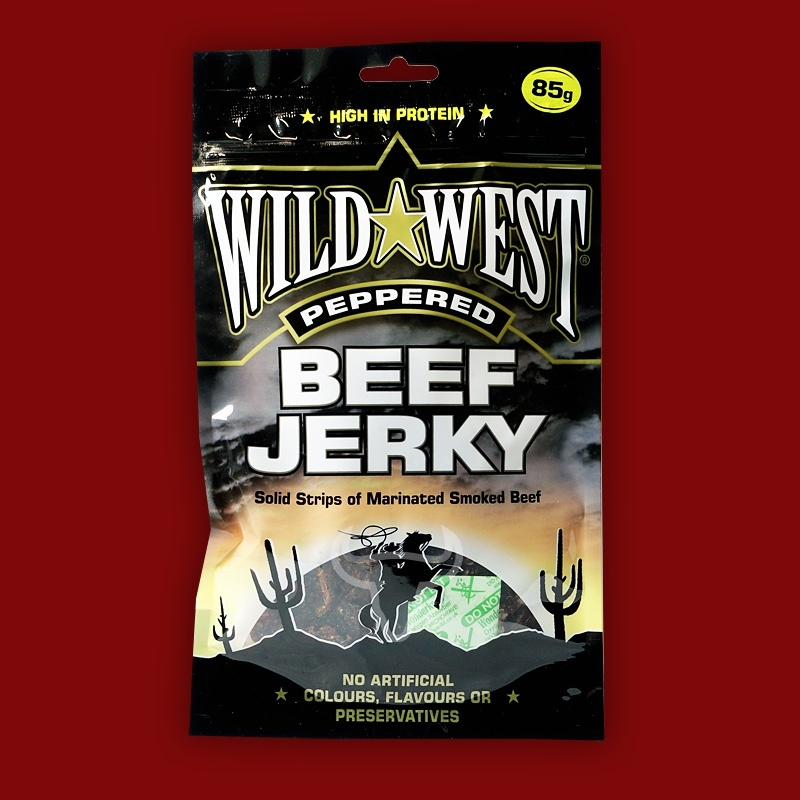 Wild West Beef Jerky Peppered,  85g
